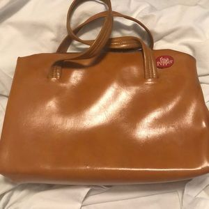 VINTAGE I'm a Pepper tan/brown handbag with snap